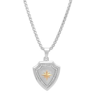 Shaquille O'Neal 1/4 ctw White Diamond Men's Sterling Silver & Gold Shield Compass Pendant Neckl|https://ak1.ostkcdn.com/images/products/18589028/P24690040.jpg?_ostk_perf_=percv&impolicy=medium