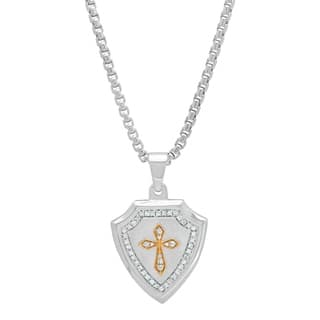 Shaquille O'Neal 1/3 ctw White Diamond Men's Sterling Silver & Gold Shield Cross Pendant Necklac|https://ak1.ostkcdn.com/images/products/18589029/P24690041.jpg?impolicy=medium