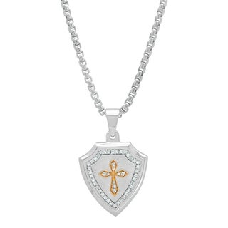Shaquille O'Neal 1/3 ctw White Diamond Men's Sterling Silver & 10K Gold Shield Cross Pendant Necklace