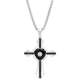 Shaquille O'Neal 1/3 ctw Black Diamond Men's Sterling Silver Compass Cross Pendant Necklace|https://ak1.ostkcdn.com/images/products/18589030/P24690042.jpg?impolicy=medium