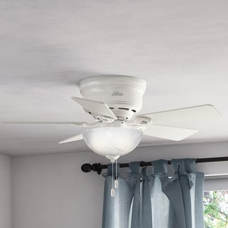 """Hunter 42"""" Haskell Low Profile Ceiling Fan with LED Light Kit and Pull Chain - Fresh White"""