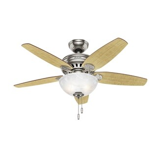 "Hunter Fan 44"" Cedar Park Brushed Nickel with 5 Cherry / Maple Rev Blds - Silver"