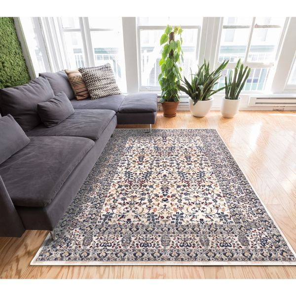 Well Woven Traditional Timeless Border Beige Blue Runner Rug - 2'3 x 7'7