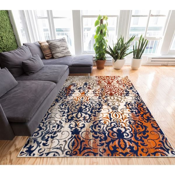 "Well Woven Distressed Modern Color Splash Damask Rust Multi Area Rug - Beige/Red - 7'10"" x 10'6"""