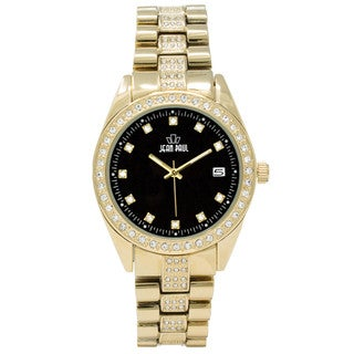 Dakota Jean Paul Men's 44mm Gold Big Bling Jeweled Watch