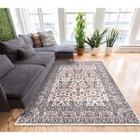 """Well Woven Traditional Timeless Border Beige Blue Area Rug - 7'10"""" x 10'6"""""""