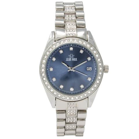 Dakota Jean Paul Men's Silver 44mm Big Bling Jeweled Watch