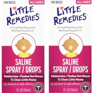 Little Remedies Saline Spray/Drops for Dry for Stuffy Noses - 1 Fluid Ounce - 2 Pack