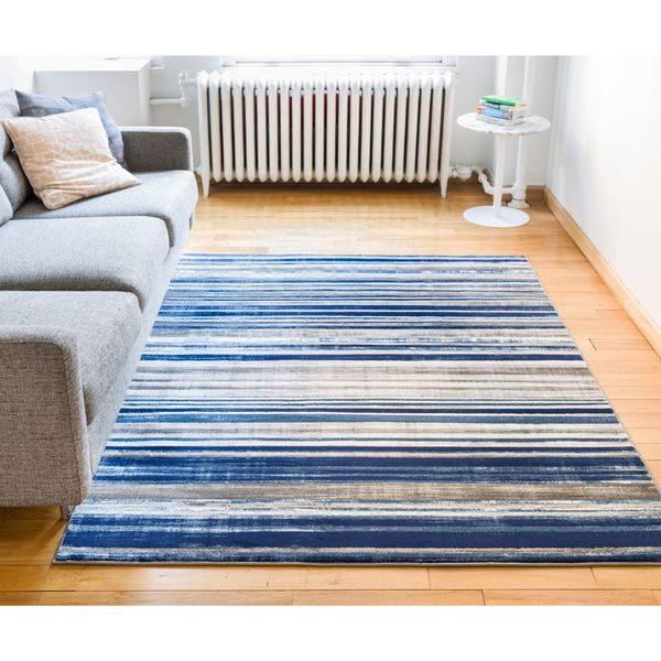 "Well Woven Modern Distressed Stripes Blue Area Rug - 7'10"" x 9'10"""