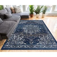 """Well Woven Medallion Vinage Distressed Blue Area Rug - 7'10"""" x 9'10"""""""
