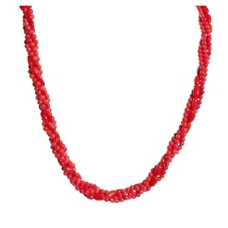 Red Coral Beads and Rice Necklace with Earrings