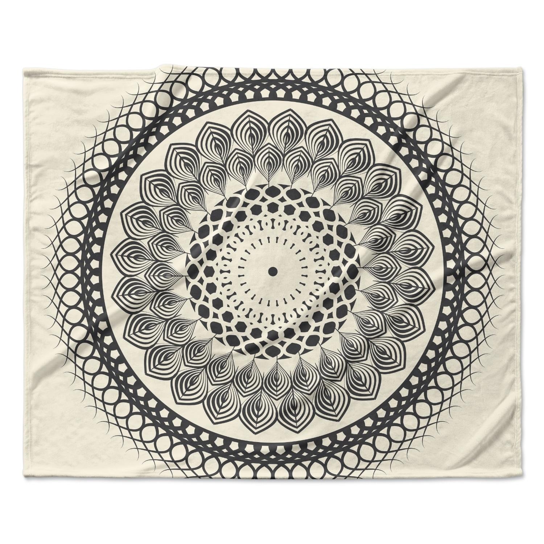 Kess Inhouse Famenxt Black White Boho Mandala Fleece Blanket Multi Color 60 X 50 Overstock 18589929