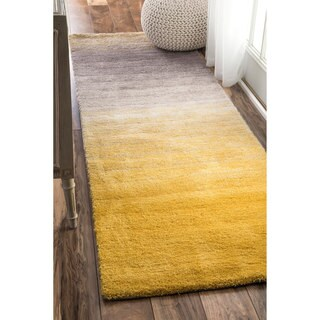 Clay Alder Home Eggner Handmade Soft and Plush Ombre Yellow Shag Runner Rug (2' 6 x 10')