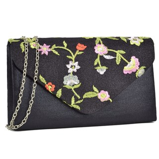 Dasein Black Velvety Frosted Evening Clutch with Flower Design