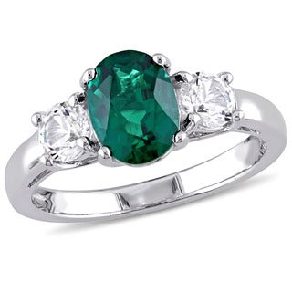 Miadora Simulated Emerald and Created White Sapphire 3-Stone Engagement Ring