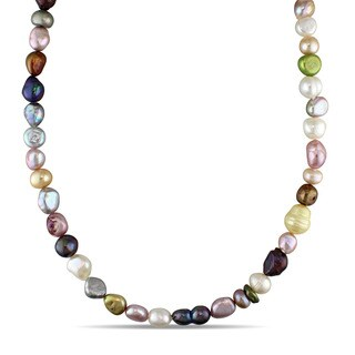 Miadora 36-Inch Multi-Color Multi-Size and Multi-Shape Endless Cultured Freshwater Pearl Wrap Around Necklace (8-13 mm)