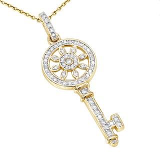 Luxurman 14K Gold Round Diamond Key Pendant 0.33ct
