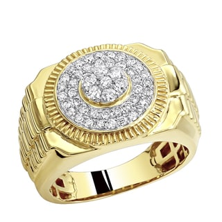 Shop Luxurman Pinky Rings 0 9ct 10k Gold Diamond Ring For Men Overstock 18590300