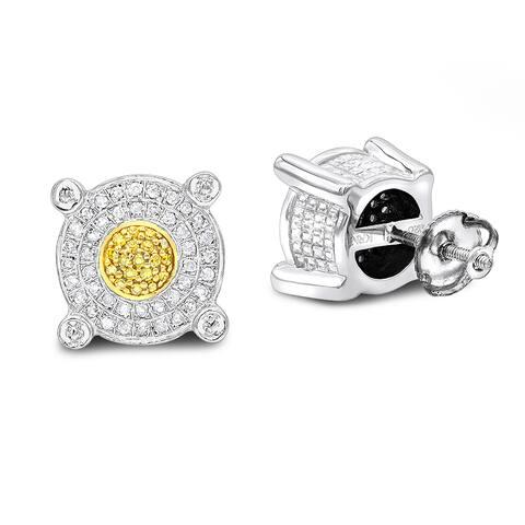Luxurman White Yellow Diamond Stud Earrings 0.33ct Sterling Silver - N/A
