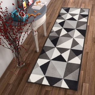 "Well Woven Mid Century Modern Shapes Grey Non-Skid Backing Runner Rug - 2'8"" x 12'"