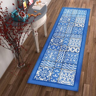 "Well Woven Modern Vinatge Tile Print Blue Non-Skid Backing Rug Runner - 2'8"" x 12'"