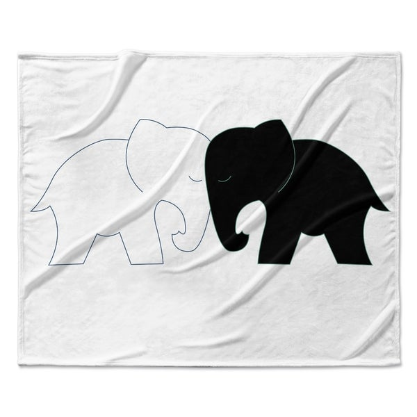 80 x 60 Fleece Blanket Kess InHouse NL Designs White Elephant Love Black Animals Throw