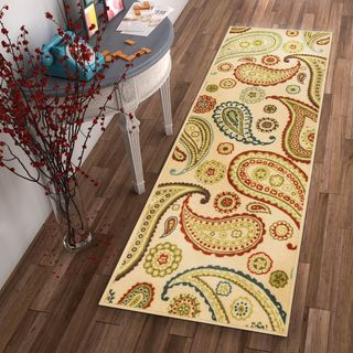 "Well Woven Modern Paisley Bold Ivory Non-Skid Backing Rug Runner - 2'8"" x 12'"