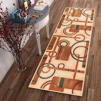 """Well Woven Modern Gometric Shapes Natural Non-Skid Backing Rug Runner - 2'8"""" x 12'"""