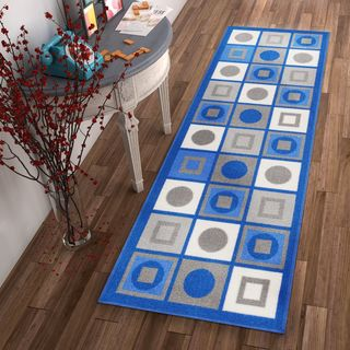 Well Woven Geomtric Circles and Squares Blue Non-Skid Backing Rug - 2' x 7'
