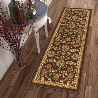 Well Woven Traditional Sarouk Non-Skid Backing Runner Rug - 2' x 7'