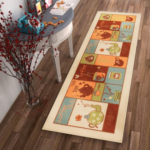 Shop Well Woven Kitchen Patchwork Tea Coffee Beige Non Skid Backing