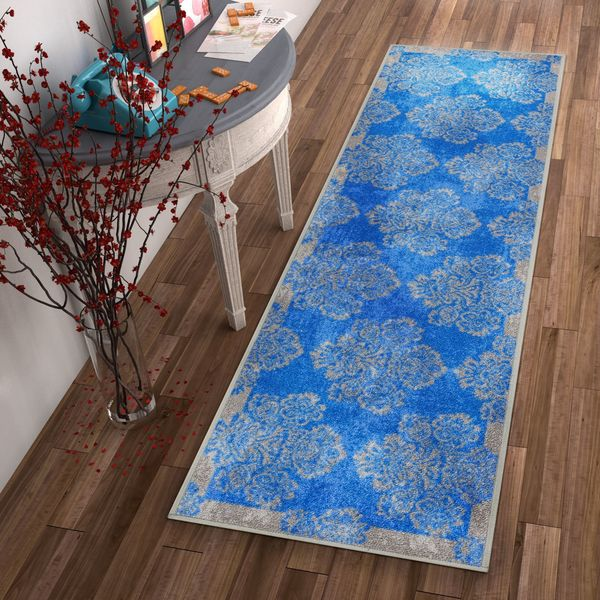 Well Woven Distressed Vintage Damask Non Skid Backing Runner Rug
