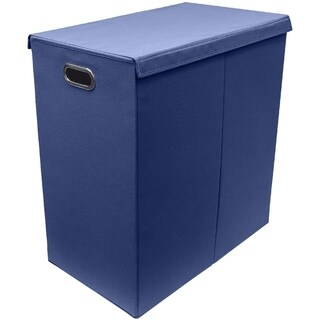 Hamper Laundry Sorter with Hook and Loop Lid Closure, Double - Navy Blue