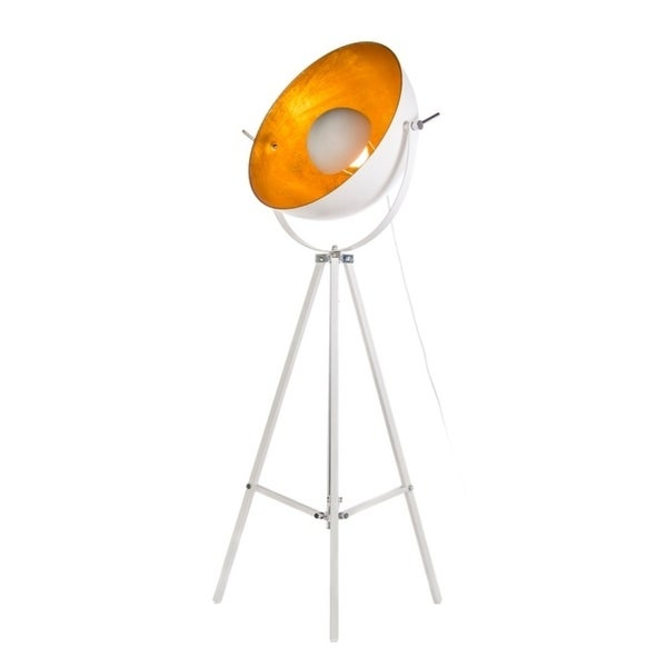Lumenno Mid-Century 1-light White/Gold Tripod Floor Lamp