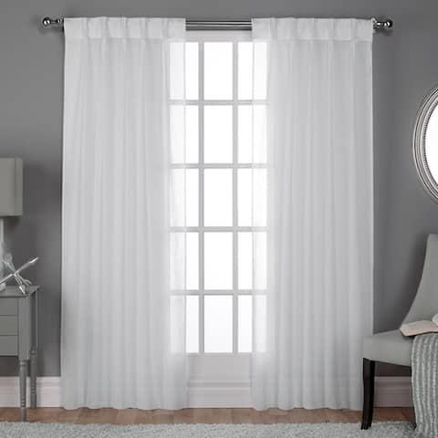 ATI Home Belgian Jacquard Sheer Double Pinch Pleat Top Curtain Panel Pair