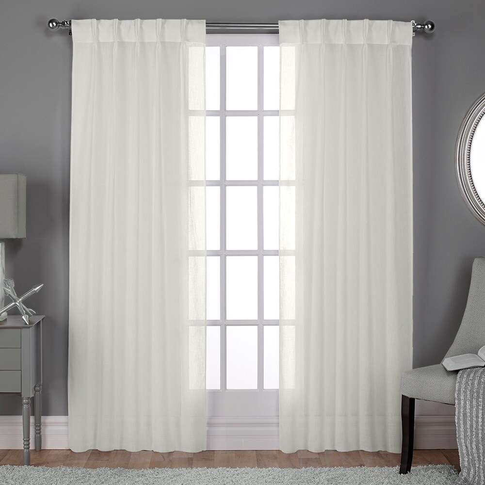 Charming ATI Home Belgian Sheer Window Curtain Panel Pair With Pinch Pleat Top (More  Options Available