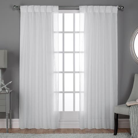 c13c49b274491a ATI Home Belgian Jacquard Sheer Double Pinch Pleat Top Curtain Panel Pair