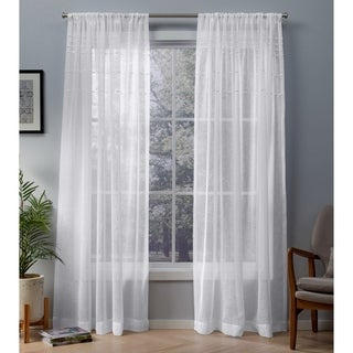 ATI Home Davos Embellished Sheer Rod Pocket Top Curtain Panel Pair