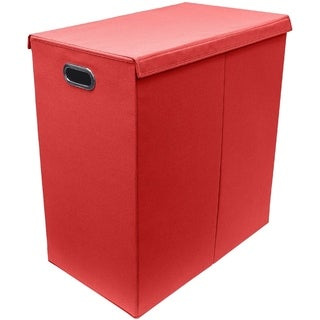 Hamper Laundry Sorter with Hook and Loop Lid Closure, Double - Red