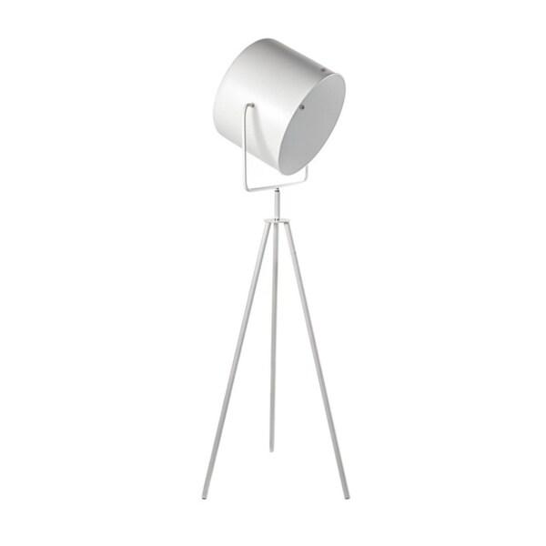 Lumenno Mid-Century 1-light White/Gold Tripod Floor Lamp