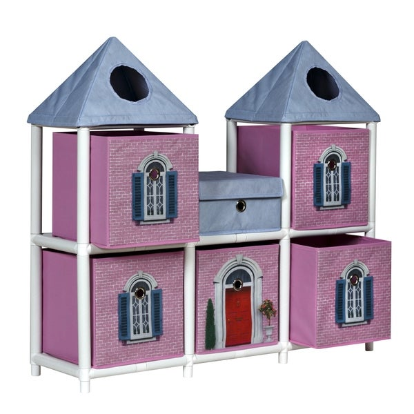 OneSpace ECO 50-JPCA01PK 100% Recycled Paper Fantasy House Kids Storage Unit, Pink and White