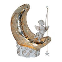 "9.5""H Moon and Cherub Accent Lamp - Gold/White Patina"