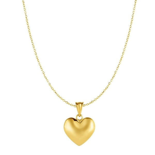 10k yellow gold 18 inch satin puffed heart pendant necklace 10k yellow gold 18 inch satin puffed heart pendant necklace 15mmx21mm mozeypictures Choice Image