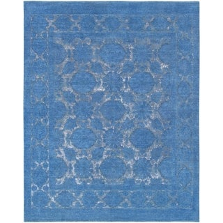 """Pasargad Home Overdyes Blue Collection Hand-Knotted Wool Rug- 7' 8"""" X 9' 8"""" - 8' x 10'"""
