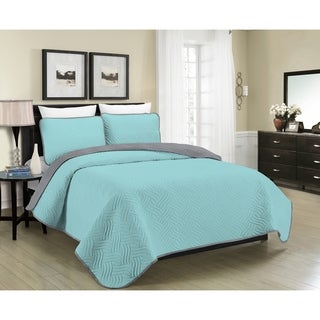 Blissful Living Reversible Luxury 3 Piece Quilt Set