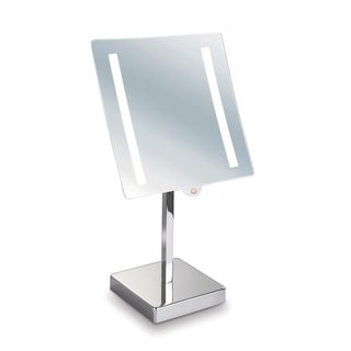"Empire 5X Magnification 8"" x 8"" Lighted Makeup Mirror - Polished chrome"