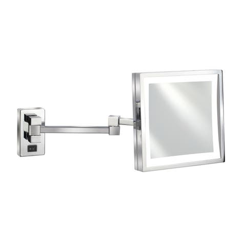 "Empire 5X Magnification Wall-Mount 8"" x 8"" Lighted Makeup Mirror - Polished chrome"
