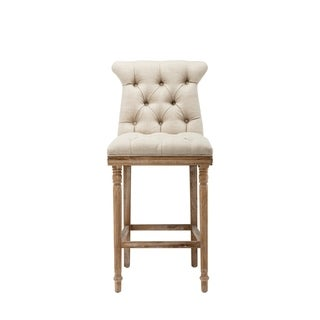 Ceets Provence Tan Fabric and Distressed Finish Ash Wood Counter Stool