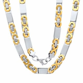 Steeltime Men's Two-Tone Stainless Steel Flat Byzantine Chain Necklace|https://ak1.ostkcdn.com/images/products/18591598/P24693053.jpg?impolicy=medium