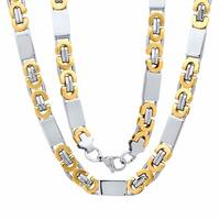 Steeltime Men's Two-Tone Stainless Steel Flat Byzantine Chain Necklace